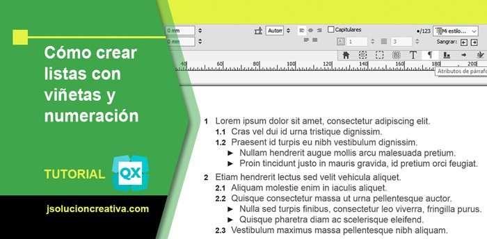 Configuración de listas numéricas y viñetas en QuarkXPress