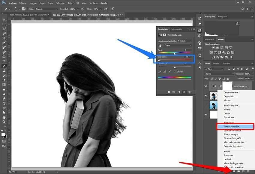 Bajar saturación de una imagen
