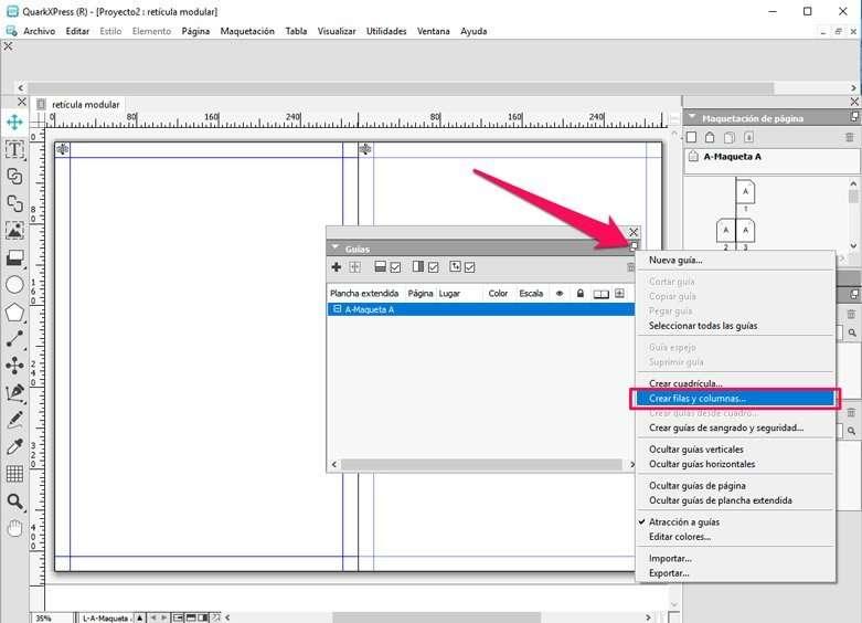 Configurar guías en retícula modular