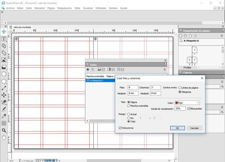 Panel de filas y columnas en retícula modular