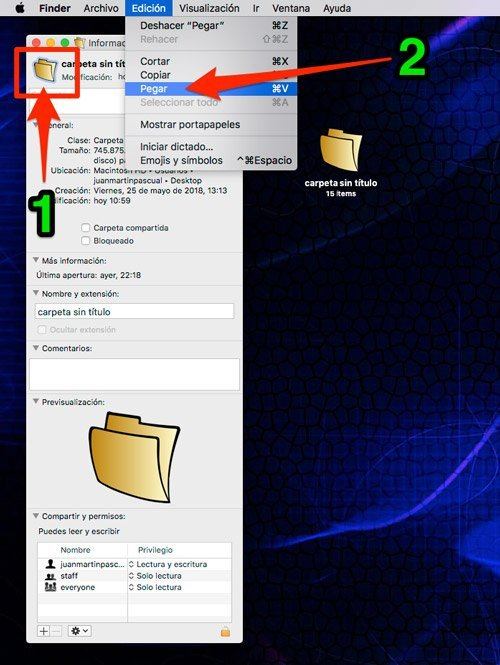 Colocar icono desde la ventana info