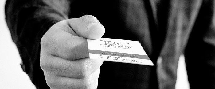 Presentación con tarjeta de visita original