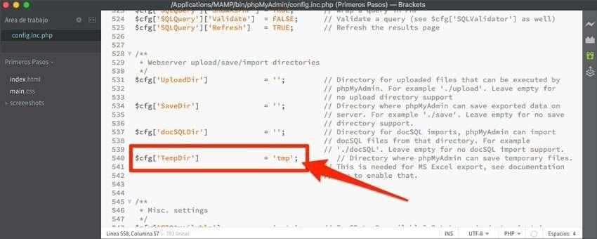 Editar archivo config.inc.php en phpMyAdmin en Xampp