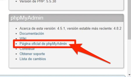 Enlace a web oficial de phpMyAdmin