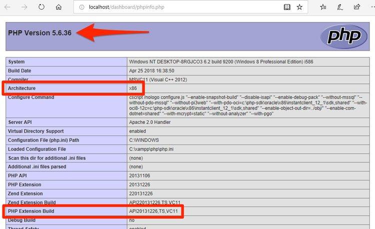 info PHP para actualizar php en xampp