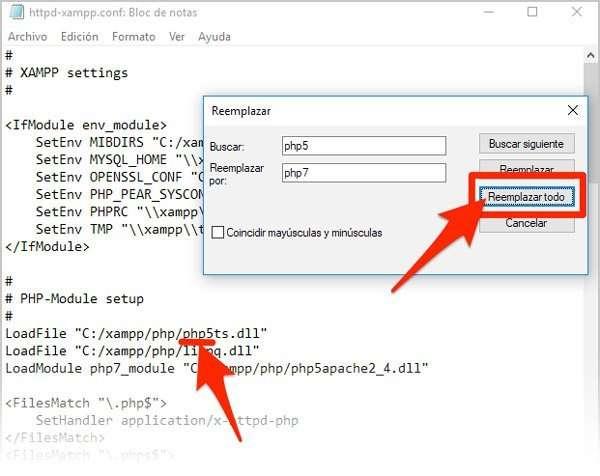 cambiar versión de PHP en Xampp. Archivo config