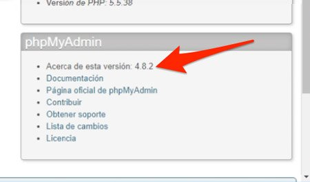 Versión actualizada de phpMyAdmin en Xampp