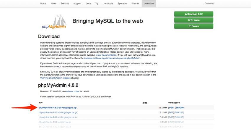 Web oficial de phpMyAdmin para Xampp