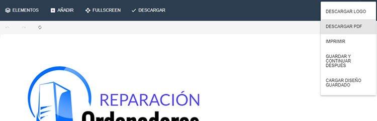 descarga de PDF al hacer un logo gratis en internet
