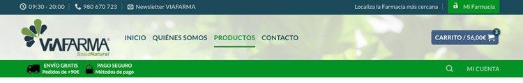 Cabecera privada de productos para farmacias y particulares