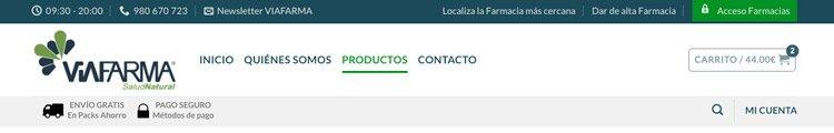 Cabecera pública de productos para farmacias y particulares