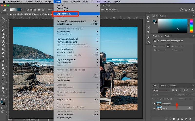 duplicar capa para convertir imagen a tonos sepia