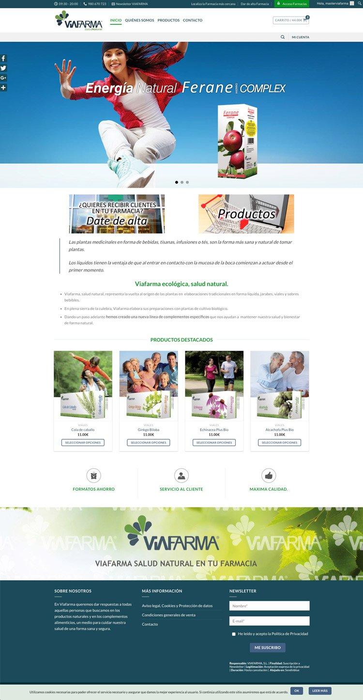 Página de inicio de viafarmaecologica.com de productos para farmacias y particulares