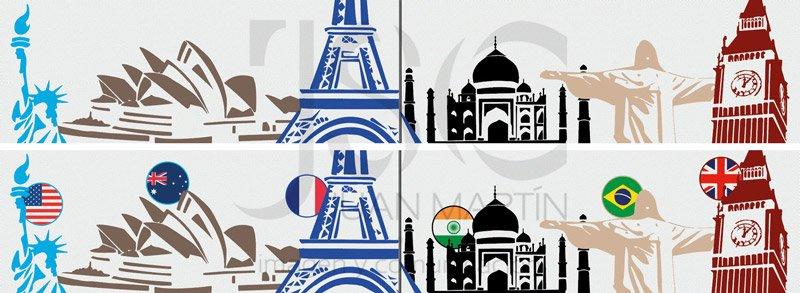 bocetos de vinilo con monumentos con y sin banderas