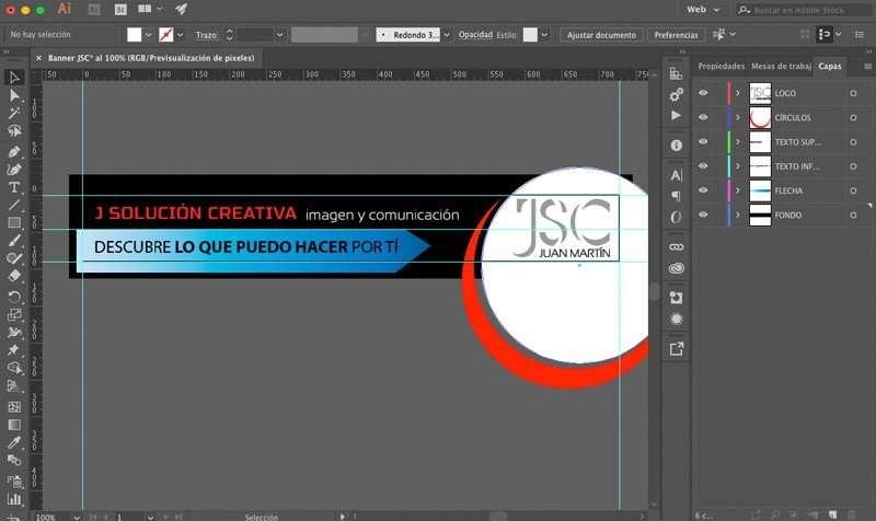 Banner en Illustrator con capas y guias