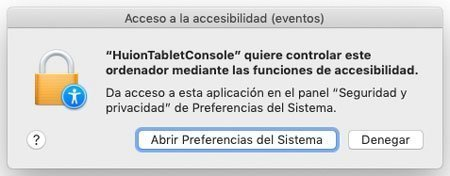 permisos de accesibilidad para la tableta grafic