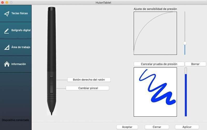 configurar presión de la punta del lápiz