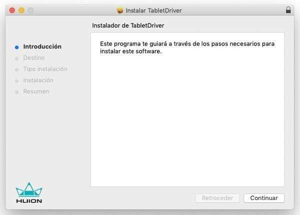 proceso para configurar tableta grafica en mac