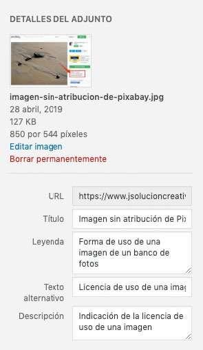 Metadatos de imágenes para web en WordPRess