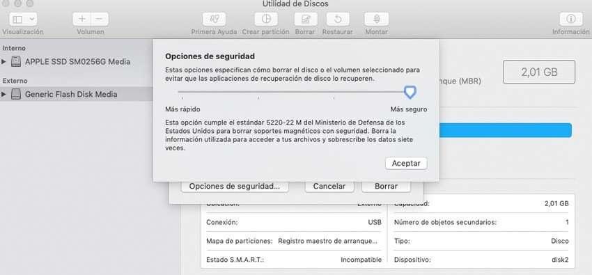 Formatear unidad con seguriddad en Mac