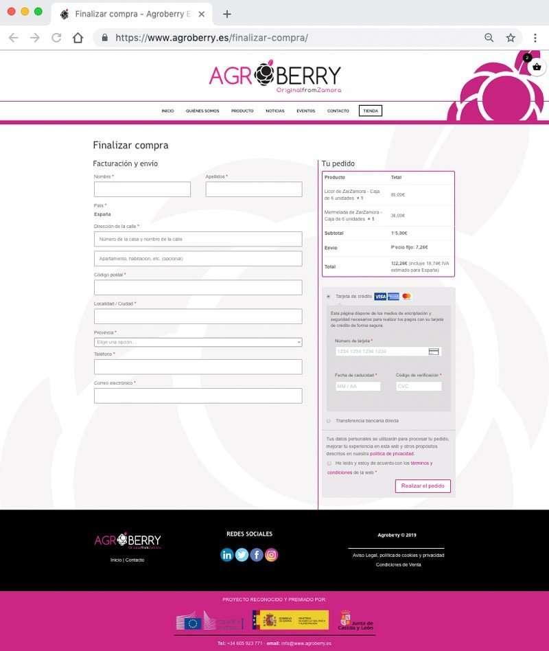 Página de finalizar compra, formas de pago y casillas de aceptación