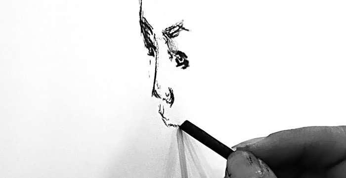Pintando con carboncillo