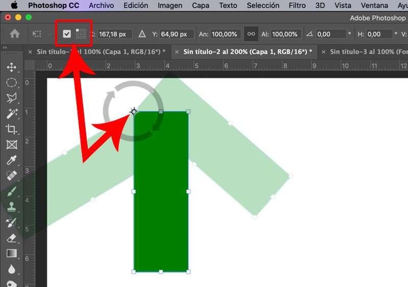 Cambio de centro de rotación en Photoshop