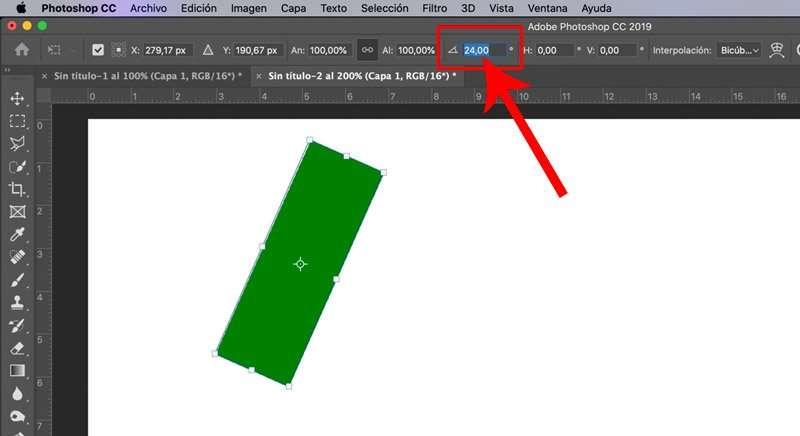 Giro personalizado en Photoshop