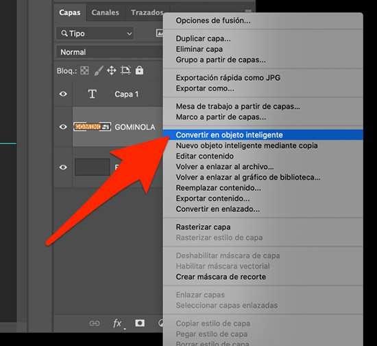 convertir texto en objeto inteligente en Photoshop