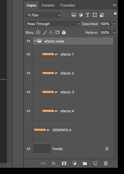 grupo de capas para texto tipo nube con photoshop