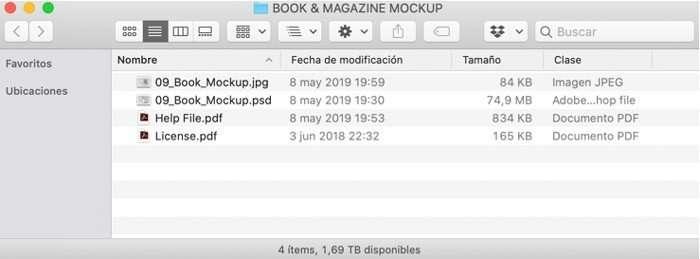 Archivos descargados del mockup