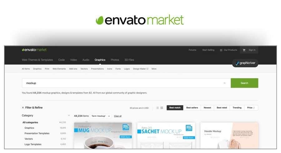 Envato Market - sitios para descargar mockups