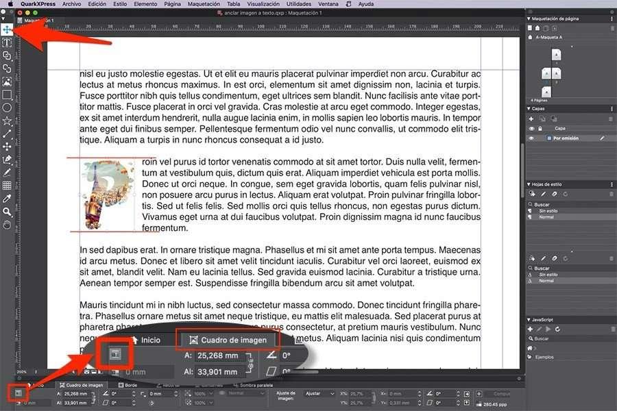 Ajustar imagen anclada en QuarkXPress al párrafo