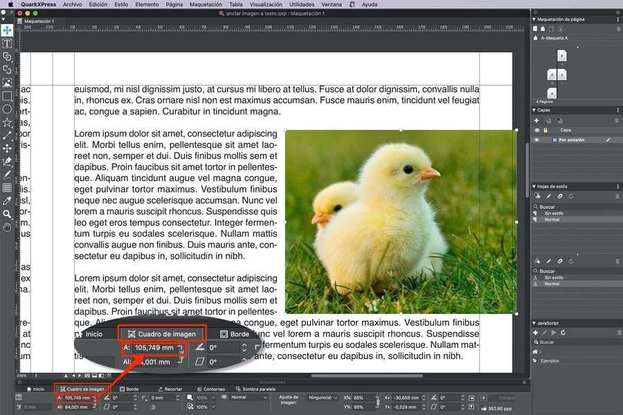 Imagen anclada al texto a sangre por la derecha en QuarkXPress