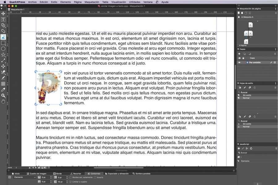 """Insertar imagen en una """"caja de imagen"""" en QuarkXPress"""