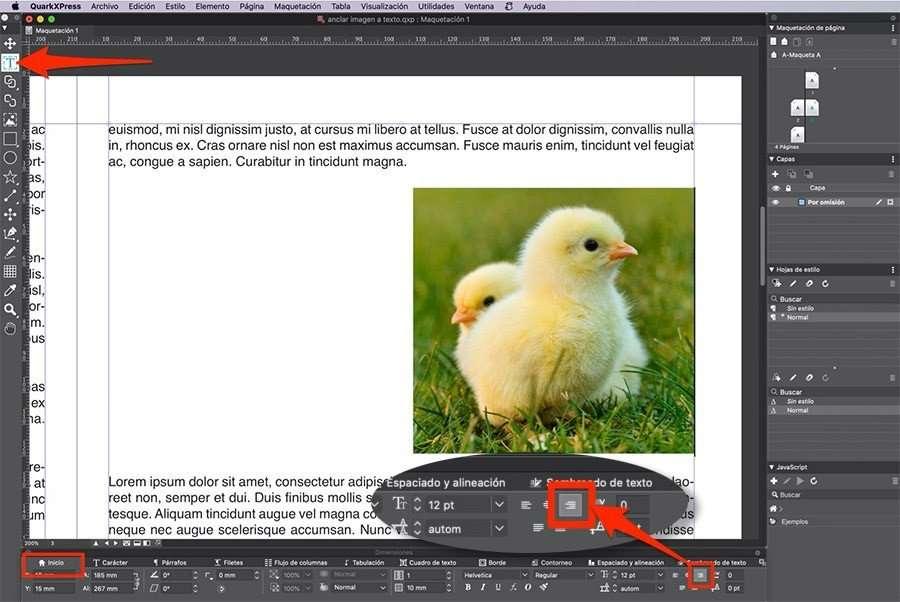 Insertar y justificar la imagen a la derecha