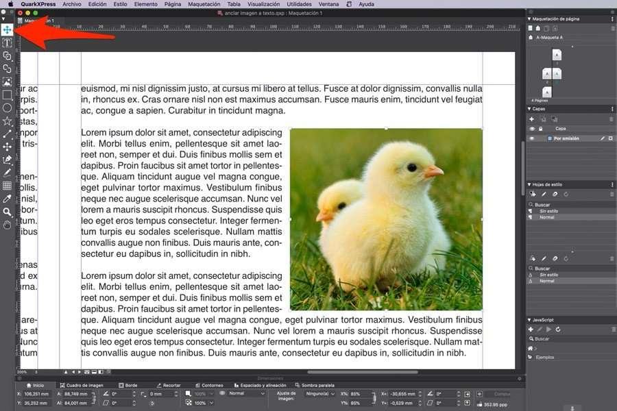Cortar imagen al portapapeles para anclar imagen al texto en QuarkXPress