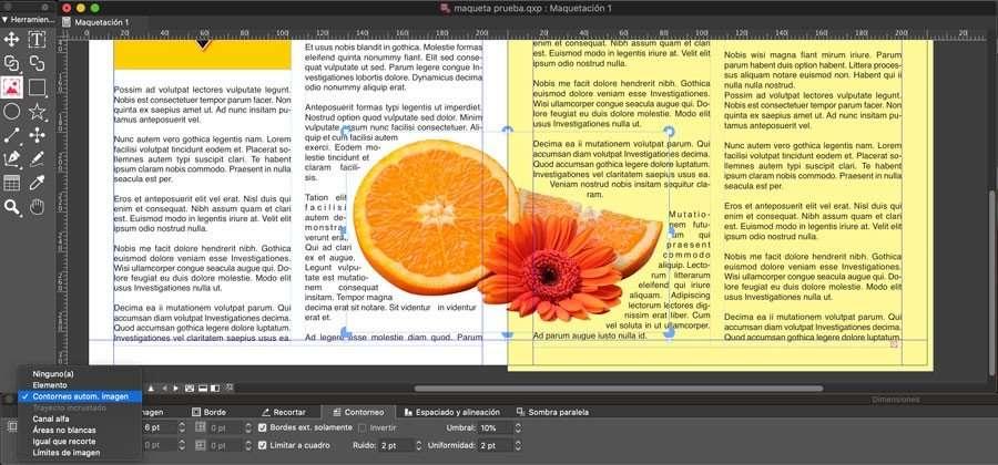 Ajustar el texto alrededor de la imagen con fondo transparente en quarkxpress