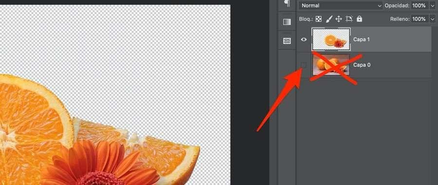 Ocultar o eliminar la capa del fondo en Photoshop