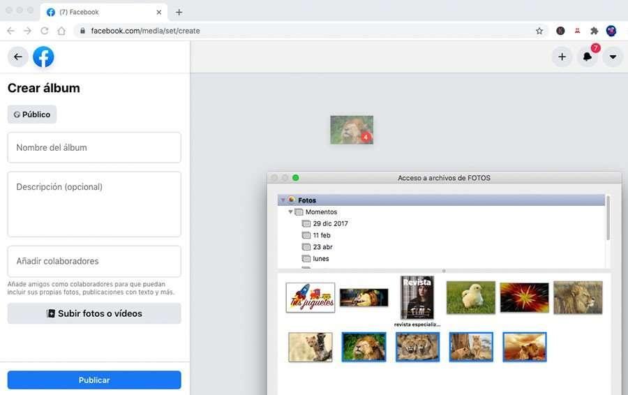 compartir imágenes en facebook desde Mac con Automator en High Sierra