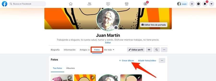 Crear nuevo album en Facebook