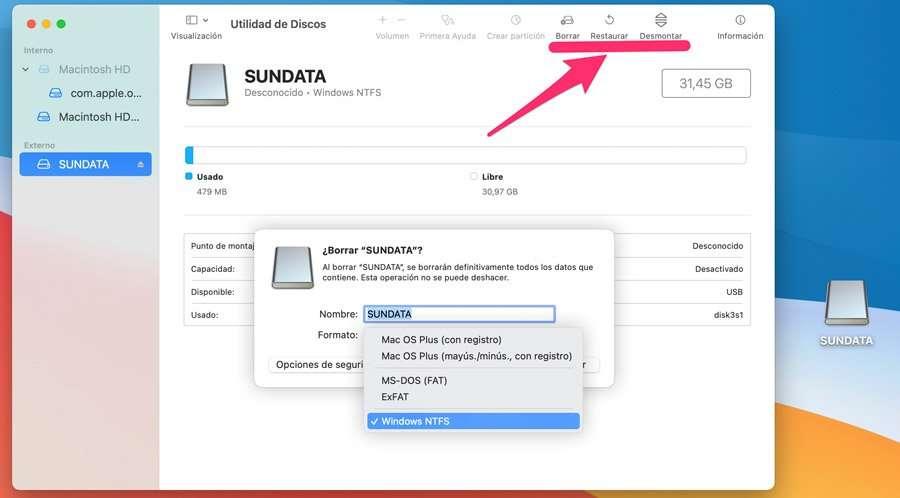 formatear disco NTFS en ordenares Mac