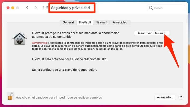 Desactivar FileVault