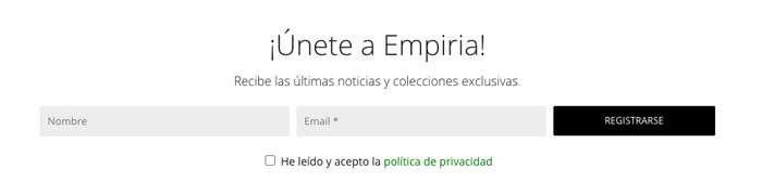 Formulario de suscripción a Empiria Collection
