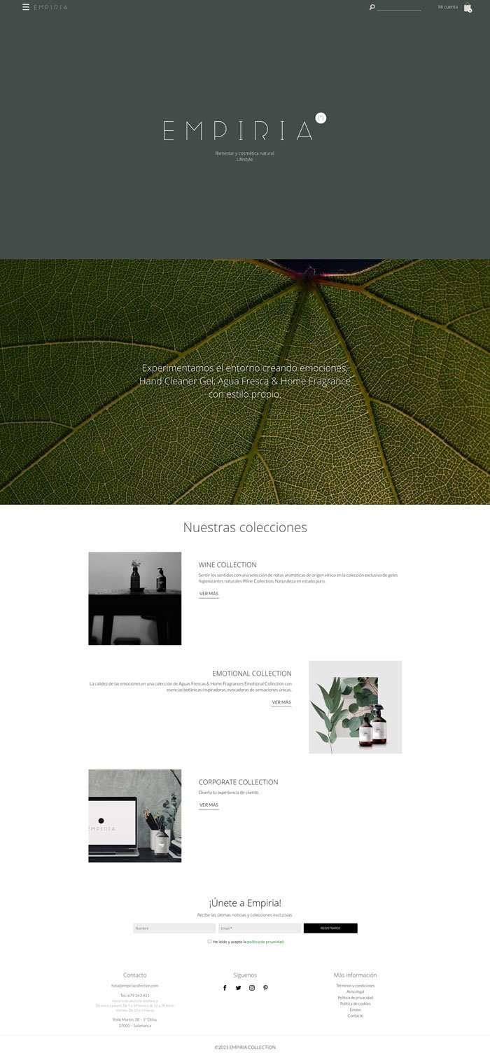 pagina de inicio de la tienda online de hidrogeles y fragancias Empiria Collection