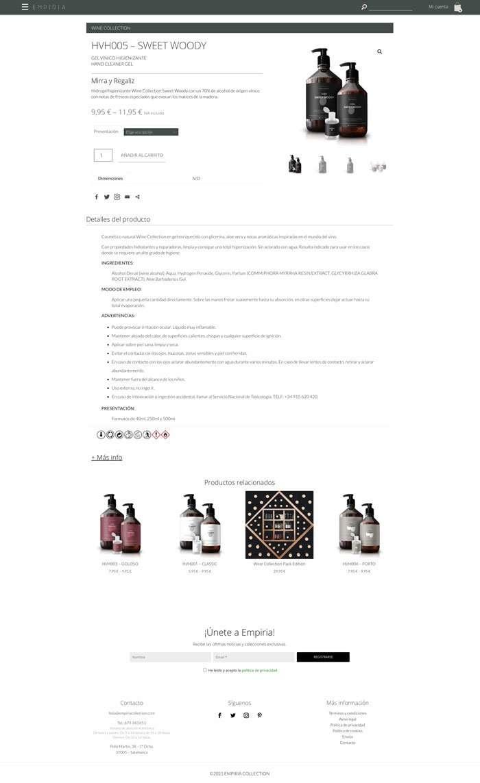 Página de producto. Gel Sweet Woody de Empiria Collection