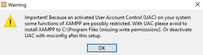 Advertencia de instalación en Xampp en Windows