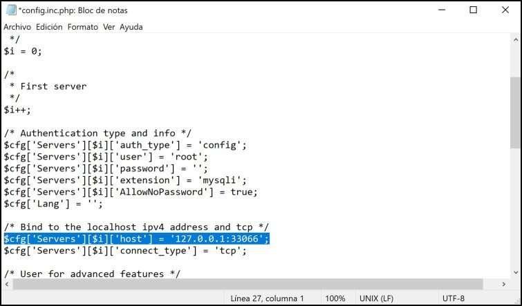Cambio de la dirección IP de phpMyAdmin en Xampp