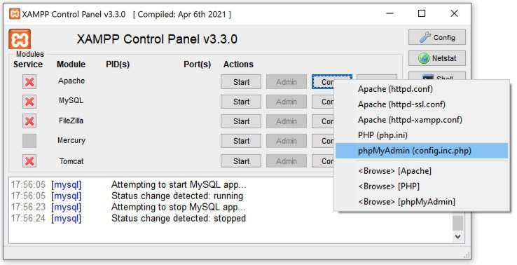 Acceso al archivo config.inc.php