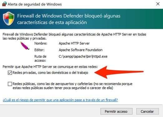 Acceso de Apache a redes privadas